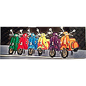 Colourful Scooters Ceramic Wall Art by YH-Arts 40 x 15cm