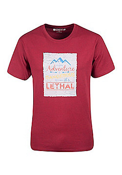Mountain Warehouse Adventure Is Dangerous Mens T-Shirt - Red