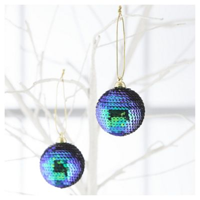 Buy Tesco Sequin Christmas Baubles Blue Green 4 Pack