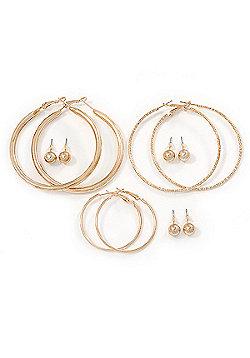Versatile Set Of 3 Pair Hoop 60mm, 60mm, 35mm & 3 Pair Of 8mm Ball Stud Earrings In Gold Tone