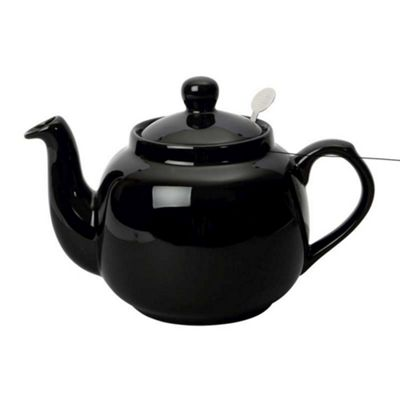 London Pottery Traditional Farmhouse 6 Cup Filter Teapot in Gloss Black