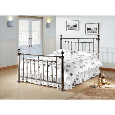 Polished Black Nickel Finish Metal Bed Frame - Double 4ft 6