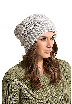 Zakti Womens Pull It Back Beanie with Chunky Knit Design & Easy Lose Fit - Grey