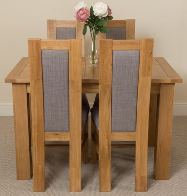 Hampton Extending Kitchen Solid Oak Dining Table & 4 Solid Oak Fabric Chairs