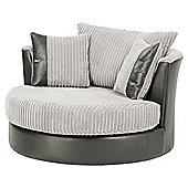 Kendal Jumbo Cord Swivel Chair, Light Grey