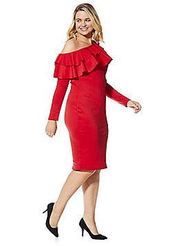 Simply Be Ruffle Trim Bardot Dress - Red