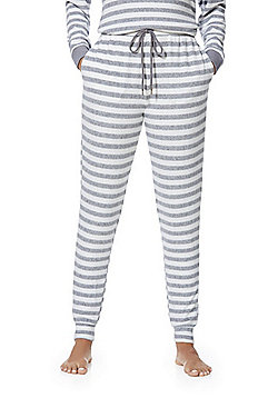 F&F Striped Fleece Lounge Pants - Grey & White