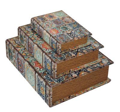 Set Of 3 Vintage Mandala Tile Book Storage Boxes Multi-colored