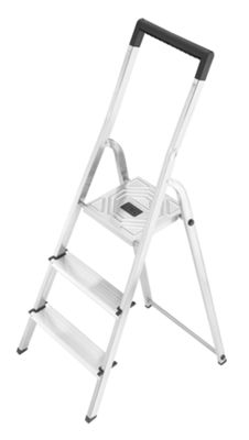 Hailo 237cm L40 Aluminium Safety Household Ladder with black Fracture-Proof