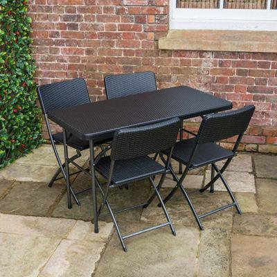 Christow 4ft Poly Rattan Table & Chairs Set