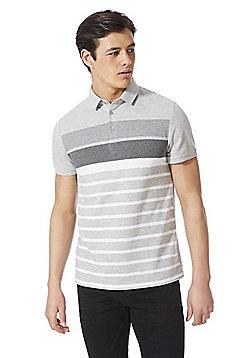 F&F Signature Striped Pique Polo Shirt - Grey