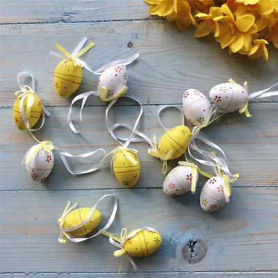 Set of Twelve Yellow & White Floral Paper Egg Decoration