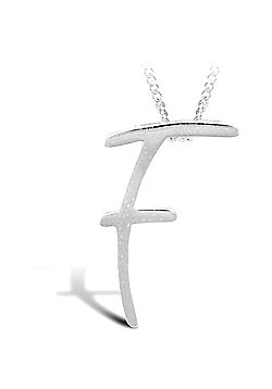 Sterling Silver 18 inch Initial Necklace Identity Pendant - Letter F