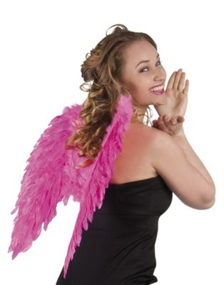 Adult Large Hot Pink Feather Angel Wings Halloween Fancy Dress Accessory