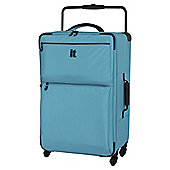 IT Luggage World's Lightest 4-Wheel Turquoise Check Medium Suitcase