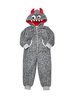 F&F Monster Fleece Hooded Onesie - Grey