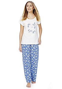 F&F Floral Print Rise And Shine Slogan Pyjamas - Blue & White