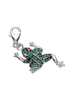 Rhodium Plated Sterling Silver White Round Crystal Frog Charm