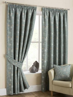 Isabella Pencil Pleat Curtains, Duck Egg 229x229cm