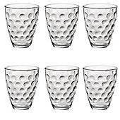 Bormioli Rocco Dots Dimpled Clear Double Old Fashioned Tumblers - 390ml - Pack of 6