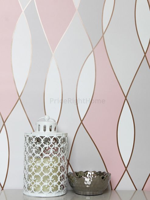 Apex Wave Geometric Wallpaper Rose Gold Fine Decor FD42172