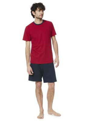 F&F Striped T-Shirt and Shorts Loungewear Set Red/Navy 2XL
