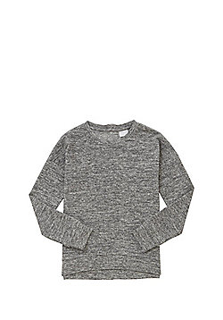 F&F Marl Zip Back Long Sleeve Top - Grey