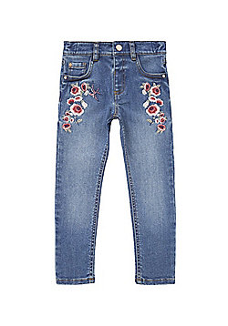 F&F Floral Embroidered Jeans - Mid wash