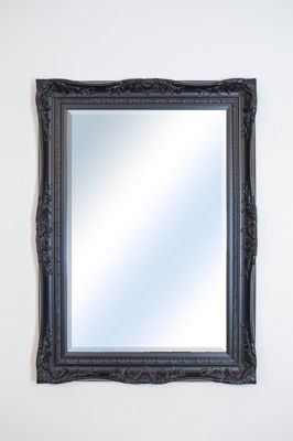 Large Black Ornate Antique Shabby Chic Wall Mirror 3Ft8 X 2Ft8, 112Cm X 81Cm