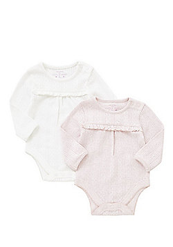 F&F 2 Pack of Pointelle Long Sleeve Bodysuits - Pink & White