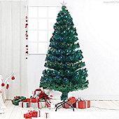 Homcom 5ft Green Fibre Optic Artificial Christmas Tree Indoor Lights Tree Multi colour LED Lights (5ft (150cm)