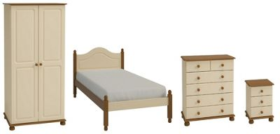 Richmond Bedroom Set (Single bed, Double Wardrobe, Chest of Drawers & Bedside Table), Cream