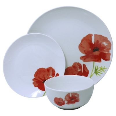 Poppy Porcelain 12 Piece Dinner Set  sc 1 st  Tesco & Buy Poppy Porcelain 12 Piece Dinner Set from our Dinner Sets range ...