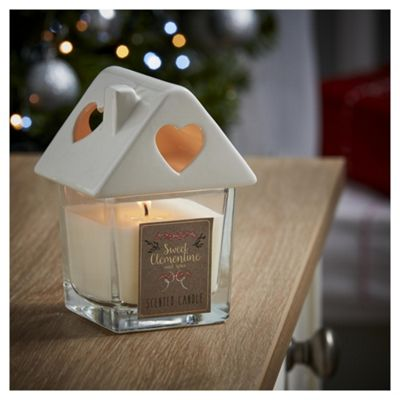 Tesco Christmas Sweet Clementine Filled House Candle