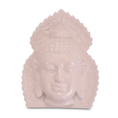 White Ceramic Ornamental Buddha Head Wall Art
