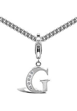 Sterling Silver Cubic Zirconia Identity Pendant - Initial G - 18inch Chain