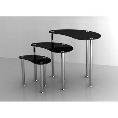 Set of 3 Black Glass Nesting Coffee Tables