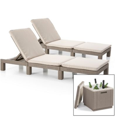 Pair of Allibert Daytona Sunloungers with Ice Cube Table - Cappuccino