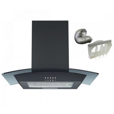 Cookology CGL600BK Extractor Fan | Black 60cm Curved Glass Chimney Cooker Hood & Ducting Kit