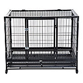 "PawHut 38"" Heavy Duty Metal Dog Kennel Pet Cage with Crate Tray and Wheels - Black"