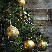 24pcs 8cm Shatterproof Gold Christmas Tree Bauble Decorations