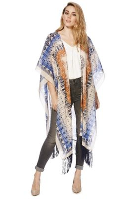 Pieces Patterned Fringed Wrap One Size Multi