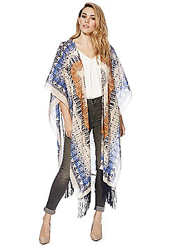 Pieces Patterned Fringed Wrap - Multi