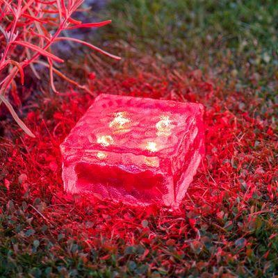 Large Red LED Solar Garden Glass Path Light
