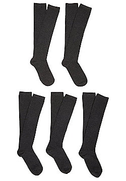 F&F 5 Pair Pack of Fresh Feel Knee High Socks - Grey