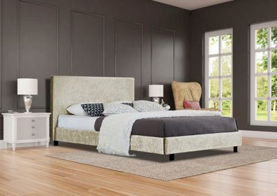 Comfy Living 4ft6 Double Crushed Velvet Bed Frame in Cream with Damask Sprung Mattress