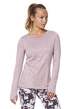 F&F Active Marl Long Sleeve T-Shirt - Light pink