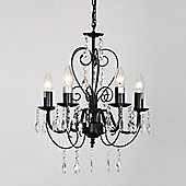 Lille Five Way Ceiling Light Chandelier, Black