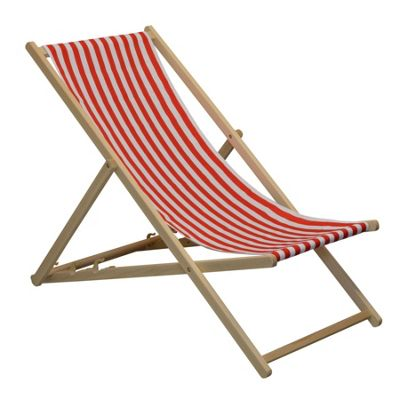 Traditional Adjustable Garden / Beach-style Deck Chair - Red / White Stripe