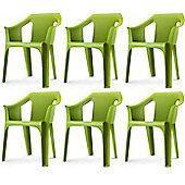 """Resol """"Cool"""" Garden Outdoor / Indoor Designer Plastic Chairs - Green - x6 chairs"""